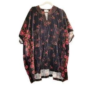 VINTAGE Nimbus pullover velvet poncho pockets